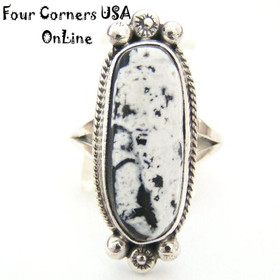White Buffalo Turquoise Ring Size 7 1/4 Navajo Artisan Larry G Yazzie NAR-1409 Four Corners USA OnLine Native American Silver Jewelry