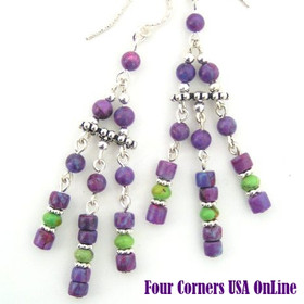 Mohave Purple and Green Turquoise Chandelier Sterling Silver Bead Earrings Four Corners USA OnLine Jewelry Designs FCE-12081
