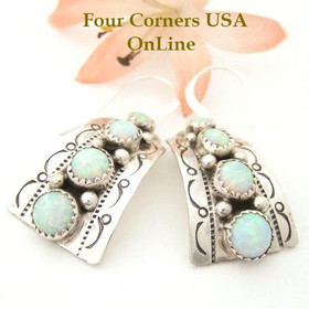 White Fire Opal Stamped Sterling Silver Earrings Mike Arviso Four Corners USA OnLine Native American Silver Jewelry NAER-1415