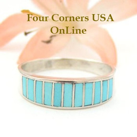 Turquoise Inlay Band Ring Size 10 1/4 Native American Navajo Ella Cowboy Four Corners USA OnLine Silver Jewelry WB-1438