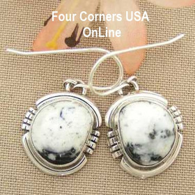White Buffalo Turquoise Sterling Silver Earrings by Native American Navajo Argke Nelson NAER-1427 Four Corners USA OnLine