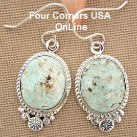 Dry Creek Turquoise Sterling Earrings Navajo Artisan Shirley Henry Four Corners USA OnLine Native American Jewelry NAER-1433