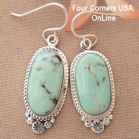 Dry Creek Turquoise Sterling Earrings Navajo Artisan Shirley Henry Four Corners USA OnLine Native American Jewelry NAER-1434