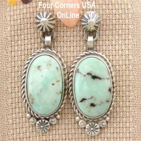 Dry Creek Turquoise Sterling Post Dangle Earrings Navajo Artisan Shirley Henry Four Corners USA OnLine Native American Jewelry NAER-1442