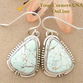 Dry Creek Turquoise Sterling Dangle Earrings Navajo Artisan Jane Francisco Four Corners USA OnLine Native American Jewelry NAER-1444