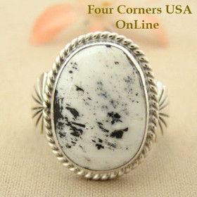 Men's White Buffalo Turquoise Ring Size 10 3/4 Navajo Tony Garcia Four Corners USA OnLine Native American Indian Silver Jewelry NAR-1473
