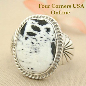 Men's White Buffalo Turquoise Ring Size 12 3/4 Navajo Tony Garcia Four Corners USA OnLine Native American Indian Silver Jewelry NAR-1476