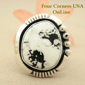 Men's White Buffalo Turquoise Ring Size 11 Native American Indian Silver Jewelry NAR-1479