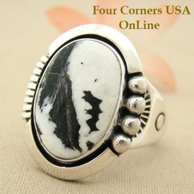 Men's White Buffalo Turquoise Ring Size 13 Four Corners USA Native American Indian Silver Jewelry NAR-1480