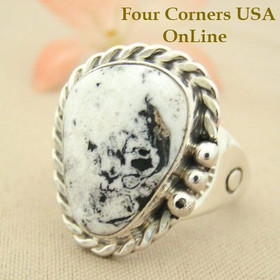 Men's White Buffalo Turquoise Ring Size 12 Four Corners USA Navajo Silver Jewelry NAR-1481