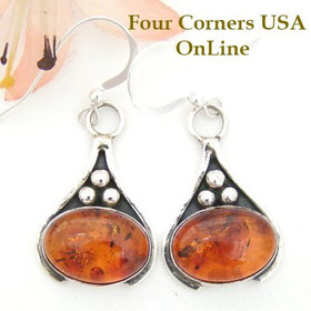 Amber Teardrop Sterling Earrings Native American Navajo Silversmith Ella Cowboy Four Corners USA OnLine NAER-1448