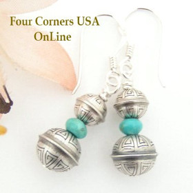 Spiral Stamped Sterling Silver Bead Turquoise Earrings Navajo Handcrafted Silver Beads Four Corners USA OnLine