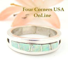 White Fire Opal Inlay Ring Size 10 Native American Silver Jewelry by Wilbert Muskett Jr WB-1476 Four Corners USA OnLine