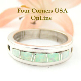 White Fire Opal Inlay Ring Size 10 1/2 Native American Silver Jewelry by Wilbert Muskett Jr WB-1477 Four Corners USA OnLine
