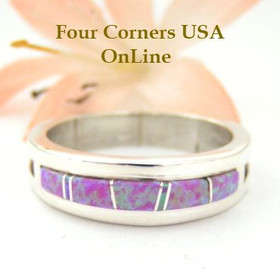 Pink Fire Opal Inlay Ring Size 10 Native American Silver Jewelry by Wilbert Muskett Jr WB-1482 Four Corners USA OnLine