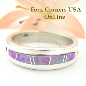 Pink Fire Opal Inlay Ring Size 10 1/2 Native American Silver Jewelry by Wilbert Muskett Jr WB-1483 Four Corners USA OnLine