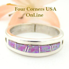Pink Fire Opal Inlay Ring Size 11 Native American Silver Jewelry by Wilbert Muskett Jr WB-1485 Four Corners USA OnLine