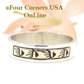 Size 12 14K Gold Sterling Bear Tracks Band Ring Navajo David Skeets NAR-1482 Four Corners USA Online Native American Jewelry
