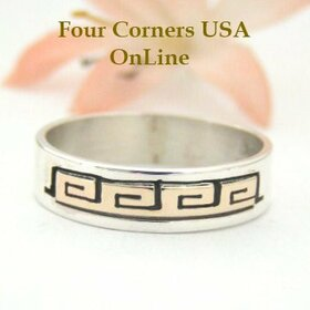 14K Gold and Sterling Ring Size 10 1/2 Native American Navajo Spirals Jewelry by David Skeets NAR-1490 Four Corners USA OnLine
