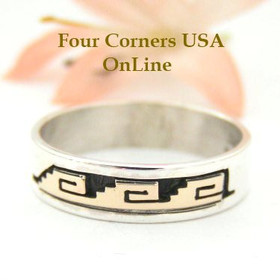 14K Gold and Sterling Ring Size 10 3/4 Navajo Kiva Steps and Spirals Jewelry by David Skeets NAR-1498 Four Corners USA OnLine