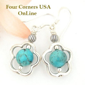 Kingman Turquoise Bead Sterling Frame Dangle Pierced Earrings Four Corners USA OnLine Jewelry Design FCE-12085