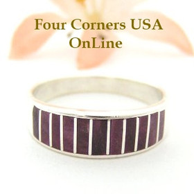 Purple Spiny Oyster Inlay Band Ring Size 10 1/2 Native American Ella Cowboy Silver Jewelry WB-1487 Four Corners USA OnLine
