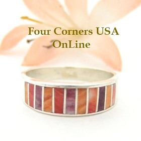 Multi Color Spiny Oyster Shell Inlay Band Ring Size 9 1/2 Native American Ella Cowboy Silver Jewelry WB-1500
