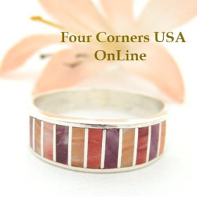 Multi Color Spiny Oyster Shell Inlay Band Ring Size 9 Native American Ella Cowboy Silver Jewelry WB-1501