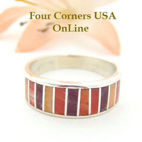 Multi Color Spiny Oyster Shell Inlay Band Ring Size 8 Native American Ella Cowboy Silver Jewelry WB-1503