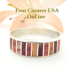 Multi Color Spiny Oyster Shell Inlay Band Ring Size 10 Native American Ella Cowboy Silver Jewelry WB-1509