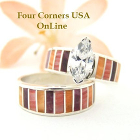 Multi Color Spiny Oyster Shell Bridal Wedding Engagement Ring Set Size 6 1/2 Four Corners USA OnLine Native American Indian Jewelry WS-1468