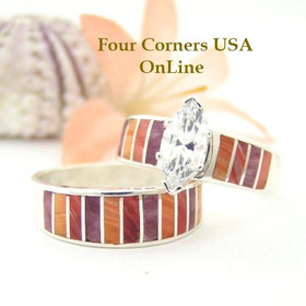 Multi Color Spiny Oyster Shell Bridal Wedding Engagement Ring Set Size 9 1/2 Four Corners USA OnLine Native American Indian Jewelry WS-1474