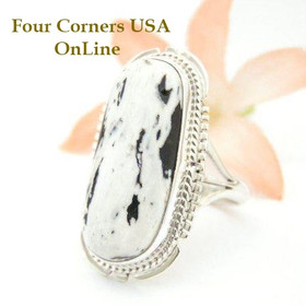 White Turquoise Elongated Stone Ring Size 8 1/2 Navajo Kathy Yazzie NAR-1502 Four Corners USA OnLine Native American Silver Jewelry