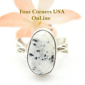 White Buffalo Turquoise Ring Size 8 by Navajo Artisan Tony Garcia NAR-1506 Four Corners USA OnLine Native American Silver Jewelry