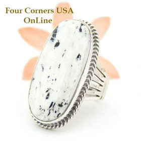White Buffalo Turquoise Ring Size 9 1/2 by Navajo Artisan Tony Garcia NAR-1509 Four Corners USA OnLine Native American Silver Jewelry