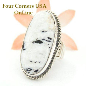 White Buffalo Turquoise Ring Size 7 by Navajo Artisan Tony Garcia NAR-1510 Four Corners USA OnLine Native American Silver Jewelry