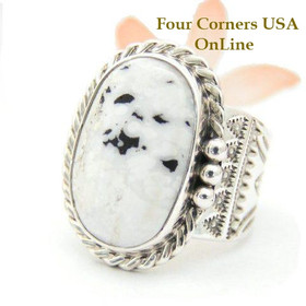 Men's White Buffalo Turquoise Ring Size 13 1/2 Navajo Tony Garcia Four Corners USA OnLine American Indian Silver Jewelry NAR-1514