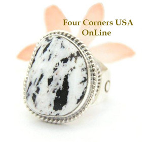 Men's White Buffalo Turquoise Ring Size 11 Navajo Phillip Sanchez Native American Indian Silver Jewelry Four Corners USA OnLine NAR-1515