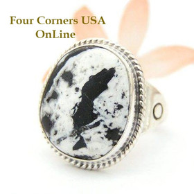 Men's White Buffalo Turquoise Ring Size 12 Navajo Phillip Sanchez Native American Indian Silver Jewelry Four Corners USA OnLine NAR-1516