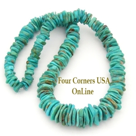 Graduated FreeForm Slice Kingman Turquoise Beads Designer 16 Inch Strand Four Corners USA OnLine Jewelry Making Supplies GFF06