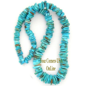 Graduated FreeForm Slice Kingman Turquoise Beads Designer 16 Inch Strand Four Cornrrs USA OnLine Jewelry Making Supplies GFF10