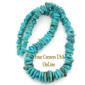 Graduated FreeForm Slice Kingman Turquoise Beads Designer 16 Inch Strand Four Corners USA OnLine Jewelry Making Supplies GFF16