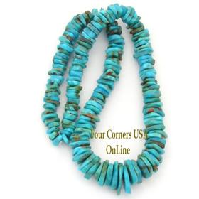 Graduated FreeForm Slice Kingman Turquoise Beads Designer 16 Inch Strand Four Corners USA OnLine Jewelry Making Supplies GFF17