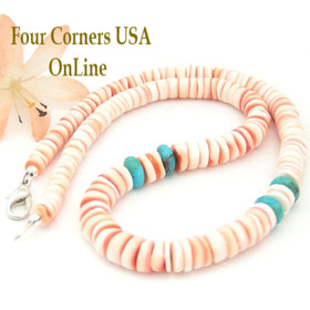 Graduated Red Lip Shell Kingman Turquoise 15 Inch Heishi Beaded Necklace Four Corners USA OnLine Jewelry FCN-13010