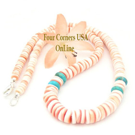 Graduated Red Lip Shell Kingman Turquoise 17 Inch Heishi Beaded Necklace Four Corners USA OnLine Jewelry FCN-13011