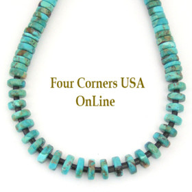 Graduated Kingman Turquoise Heishi Bead 21 Inch Necklace Four Corners USA OnLine Jewelry FCN-13014