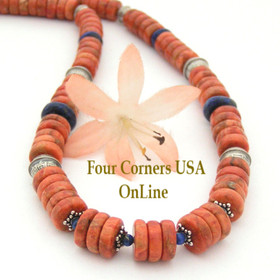 Graduated Apple Coral Lapis Navajo Silver Bead 20 Inch Necklace Four Corners USA OnLine Southwest Bead Jewelry FCN-13015