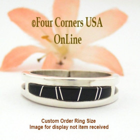 Custom Order Size Black Jet Inlay Wedding Band Wilbert Muskett Jr Four Corners USA OnLine Native American Navajo Wedding Rings