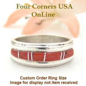 Custom Order Size Red Coral Inlay Navajo Wedding Band Wilbert Muskett Jr Four Corners USA OnLine Native American Jewelry