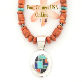 Multi Color Pendant on Coral and Turquoise 18 Inch Bead Necklace Four Corners USA OnLine Artisan Jewelry NAP-1462